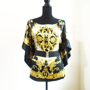 Printed belted sheen blouse